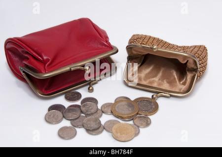 Financial concept  poor, empty, purse, small, coins - Stock Photo