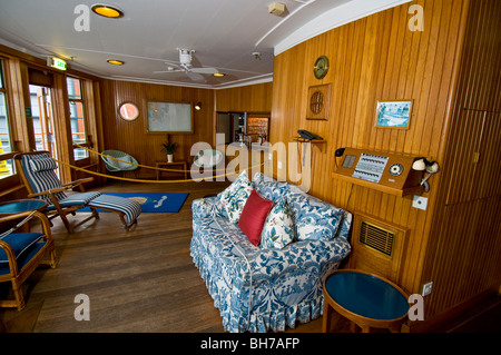 Royal Yacht Britannia now a floating public museum Berthed at Ocean Terminal Leith SCO 5957 - Stock Photo