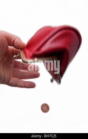 Financial concept  poor, empty, purse, penny, coin - Stock Photo