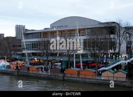 Royal Festival Hall and Cologne Christmas Market London December 2009 - Stock Photo