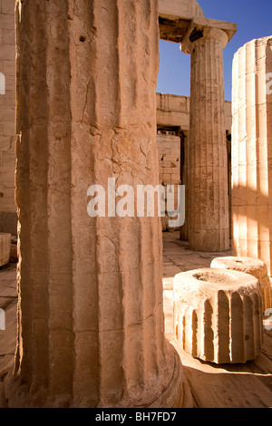 Ancient marble columns at the Acropolis, Athens, Greece. - Stock Photo