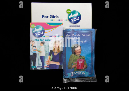 Items from a school information pack for teenage girls 'About You', (the Personal Wellbeing Schools Programme). - Stock Photo