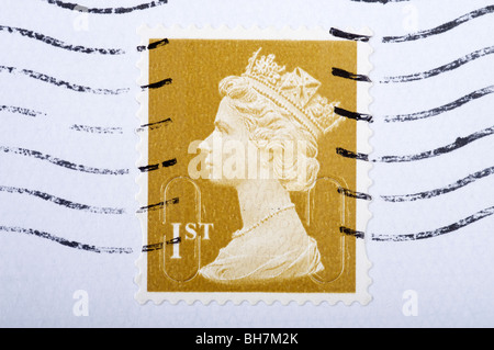 First class British postal stamp - Stock Photo