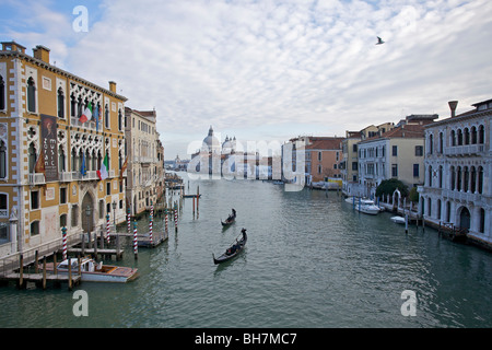 View of the Grand Canal in Venice, from Academia bridge, Italy - Stock Photo