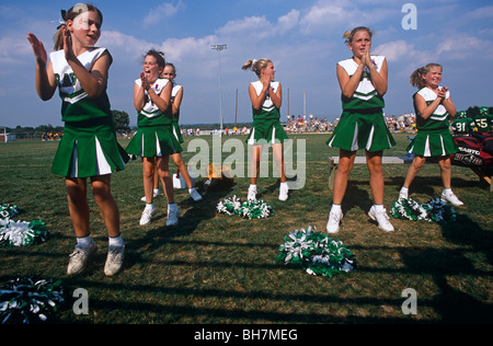 high school cheerleaders in uniform practice at their private school stock photo royalty free. Black Bedroom Furniture Sets. Home Design Ideas