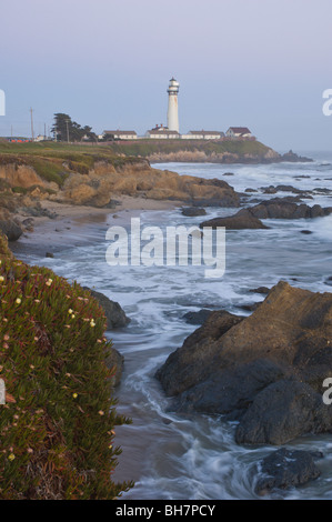 Pigeon Point lighthouse, California, at dusk - Stock Photo