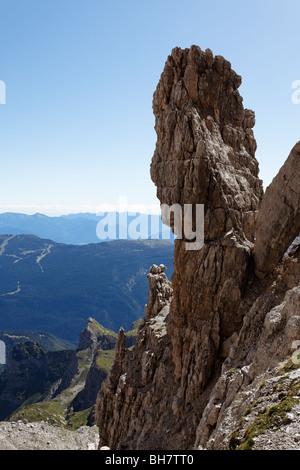 brenta via ferrata dolomite dolomiti mountaineering italy alps italian risk climbing mountaineering Bocchette Central - Stock Photo