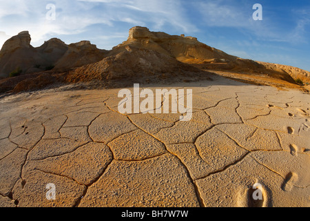 Ancient mountains and the dry ground in desert of Israel, photographed by an objective ' the Fish eye ' - Stock Photo