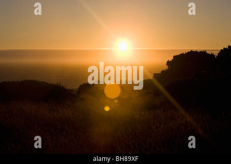 View of the sun rising over the sea and a grassy field - Stock Photo