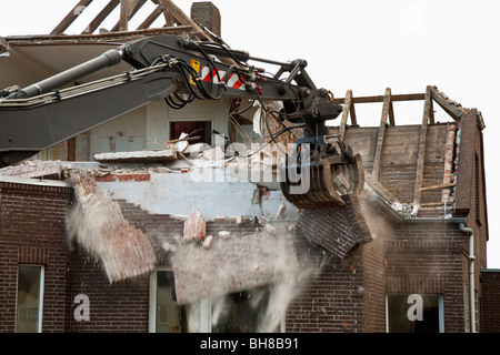 Detail of a house being demolished - Stock Photo