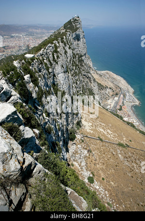 Looking north towards Spain from the top of Gibraltar, England's tiny outpost possession in the Mediterranean. Gibraltar - Stock Photo