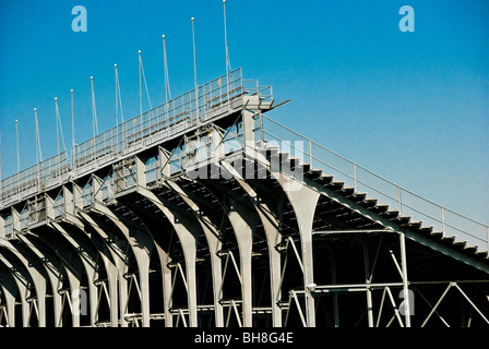Grandstands of the Indianapolis Motor Speedway in Indianapolis, Indiana - Stock Photo