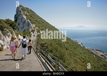Looking south towards Morocco from the top of Gibraltar, England's tiny outpost possession in the Mediterranean. - Stock Photo