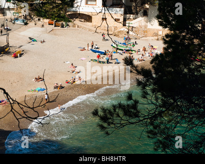 Aerial view of the beach in Sa Tuna closed to Begur in Spain. - Stock Photo