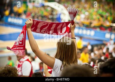 Polish fans celebrate success - Stock Photo
