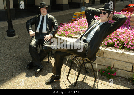 AJD65035, Rock Island, IL, Illinois, The Blues Brothers Statues, Downtown - Stock Photo