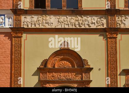 Low reliefs at Fürstenhof castle in Wismar in Mecklenburg-West Pomerania, Germany - Stock Photo