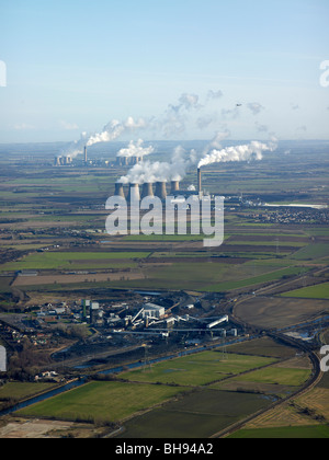 Eggborough and Drax Coal fired Power Stations, with Kellingley  Colliery in the foreground, East Yorkshire, Northern - Stock Photo