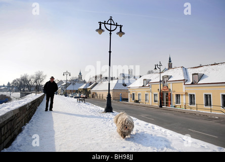Winter scene in Szentendre Hungary with a man walking a traditional Hungarian Puli Sheepdog - Stock Photo