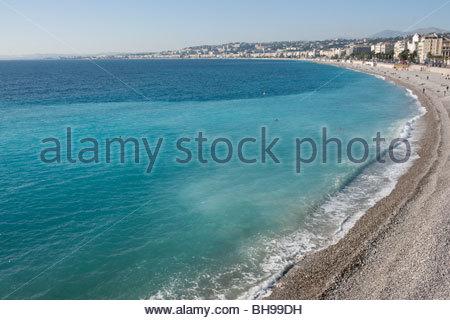 Baie des Anges, Promenade sea Anglais, Nice, sea, beach, Mediterranean, sun, blue sky - Stock Photo