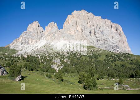 sassolungo mountain, passo sella, val gardena, dolomites, alto adige, italy - Stock Photo