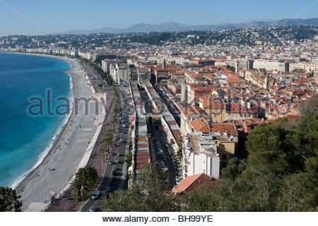Promenade des Anglais, The Marche aux Fleurs, Baie des Anges and the city of Nice from the Parc de Colline du Chateau - Stock Photo