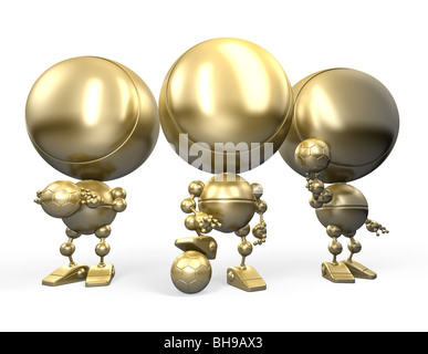 Proud winners of football match posing. 3d cartoon styled image isolated on white. Gold robotic football players - Stock Photo