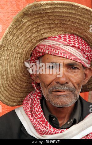 Portrait of a street vendor with traditional custom in Sanaa, Yemen - Stock Photo