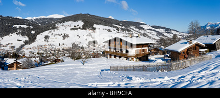 Panoramic view over the resort of Megeve fom the Rochebrune slopes, Haute Savoie, France - Stock Photo