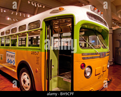 The Montgomery, Alabama bus in which civil rights pioneer Rosa Parks refused to yield her seat to a white passenger - Stock Photo