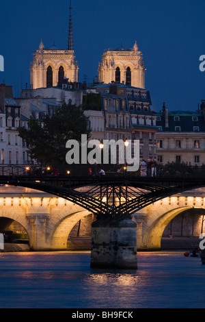 Pont des Arts & Pont Neuf over the River Seine, Notre Dame Cathedral, Paris, France - Stock Photo