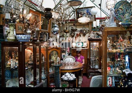 Buenos Aires Argentina San Telmo Antique shop Flea Market - Stock Photo