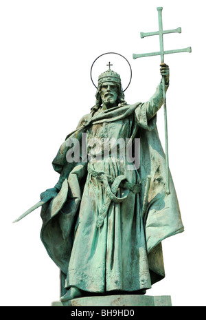 Budapest, Hungary. Millennium Monument, Statue of King (Saint) Stephen in Hosok ter (Heroes' Square) Cutout - Stock Photo