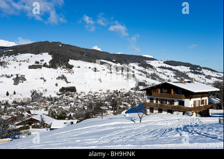 View over the resort of Megeve fom the Rochebrune slopes, Haute Savoie, France - Stock Photo