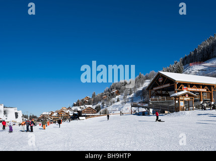 The Rhodos telecabine lift in the centre of Meribel, Three Valleys, Tarentaise, Savoie, France - Stock Photo