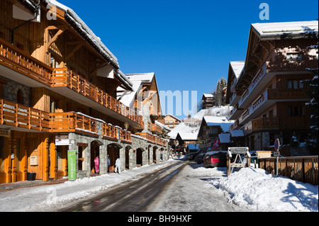 Street in the centre of Meribel, Three Valleys, Tarentaise, Savoie, France - Stock Photo