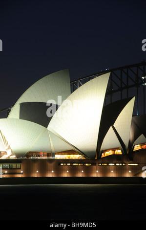 SYDNEY, Australia - SYDNEY, Australia - The famous Sydney Opera House and Sydney Harbour Bridge in the background - Stock Photo