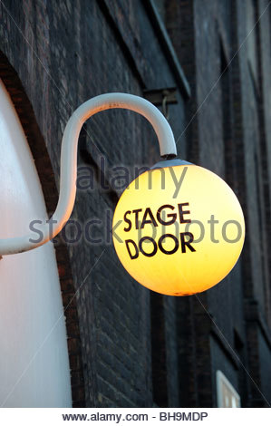Stage Door sign outside The Old Vic theatre in London - Stock Photo