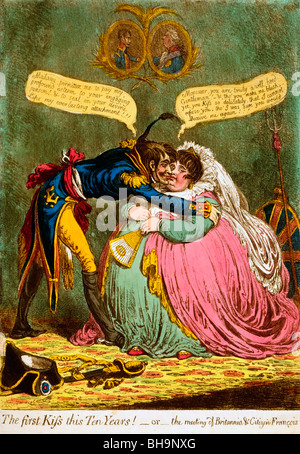The first Kiss this Ten Years! - or - the meeting of Britannia & Citizen Francois, Political Cartoon, 1803 - Stock Photo