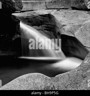 Black and White of Cascade on the Pemigiwasset River in the Basin Area of Franconia Notch State Park of New Hampshire - Stock Photo