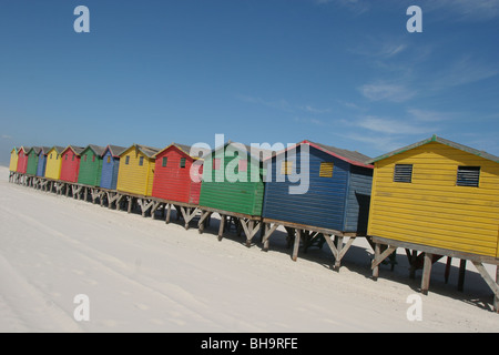 Multi coloured beach huts in Muizenberg suburb of Cape Town, on False Bay coast, South Africa - Stock Photo
