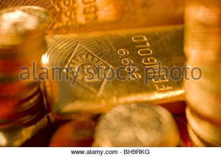 Ein Ögussa-Feingoldbarren - Gold Bar - Stock Photo