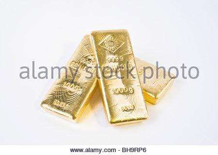 Drei Ögussa-Goldbarren - Three Gold Bars - Stock Photo