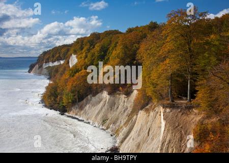 Chalk cliffs at the coast of Jasmund National Park, island of Ruegen, Mecklenburg-Western Pomerania, Germany - Stock Photo
