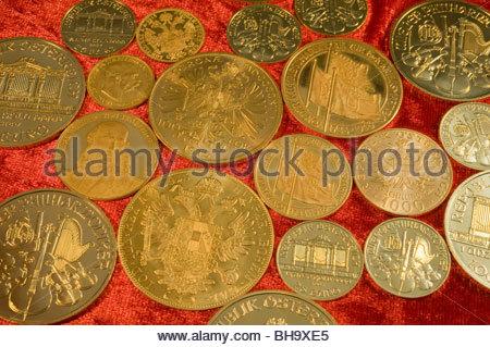 Verschiedene Österreichische Goldmünzen - Austrian Gold Coins - Stock Photo