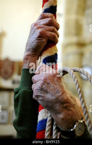 99 year old bellringer Frank Brooks at St Mary's Church in the West Sussex village of Washington UK - Stock Photo