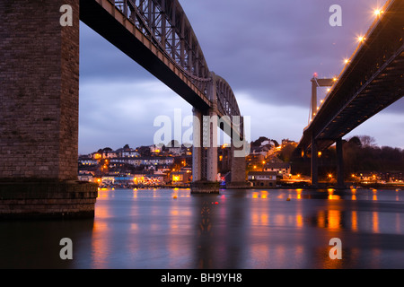 Tamar bridges; from Plymouth looking across to Saltash; rail to the left road to right - Stock Photo