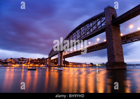 Tamar bridges; from Plymouth looking across to Saltash; rail to the left road to right