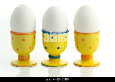 eggs in egg-cups - Stock Photo