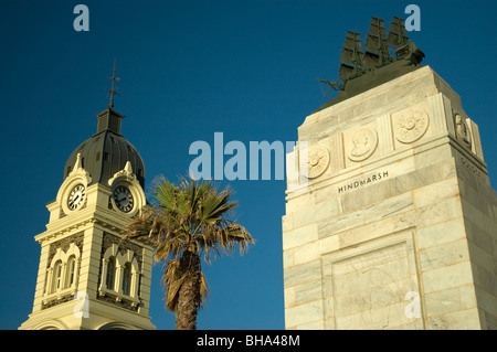 Town hall and pioneer memorial, Moseley Square, Glenelg, Adelaide, South Australia - Stock Photo